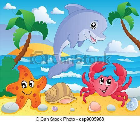 beach themed drawing vector of beach theme scenery 3 vector illustration