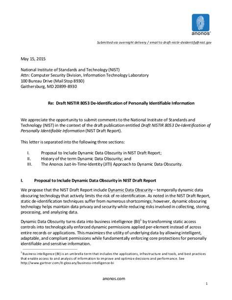 Business Letter Via Overnight Mail anonos nist comment letter de identification of