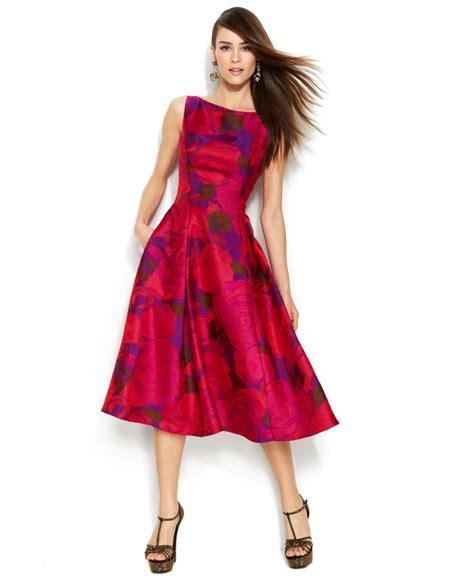 Print Sleeveless Midi Dress papell sleeveless print midi dress in lyst