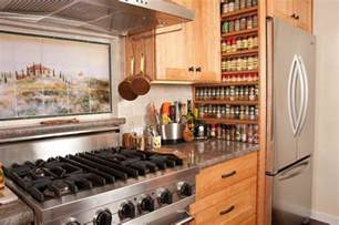 beautiful wall mount spice rack in kitchen mediterranean
