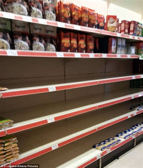 Shelf Supermarket by Greeks Clear Out Supermarket Shelves After No Vote In Anti Austerity Referendum Daily Mail