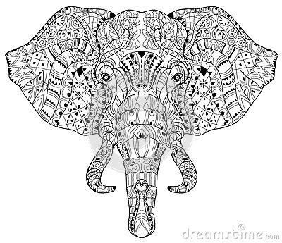 elephant coloring pages aztec designs elephant head doodle on white vector sketch stock vector