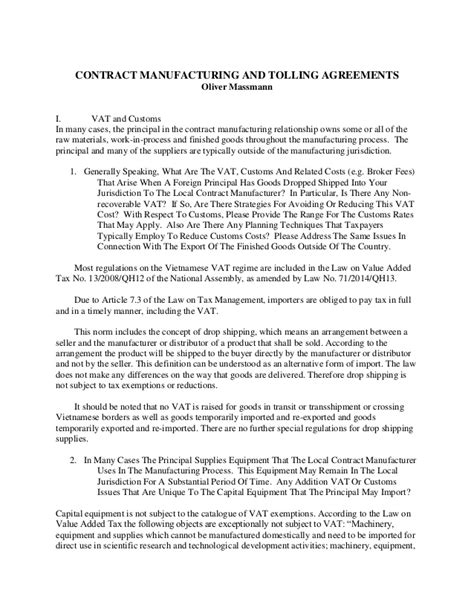 toll manufacturing agreement template contract manufaturing and tolling agreements