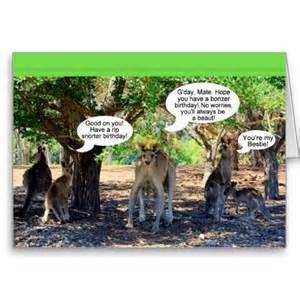 kangaroo family happy birthday humor greeting card australia strine greetingcard