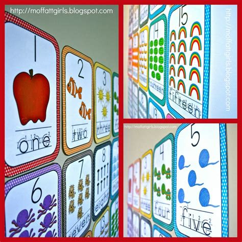 wall cards the moffatt word wall number cards 1 20
