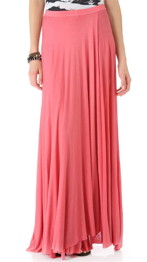 enza costa circle maxi skirt in pink lyst