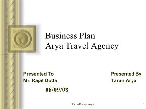 business plan template for travel agency business plan for arya travel agency