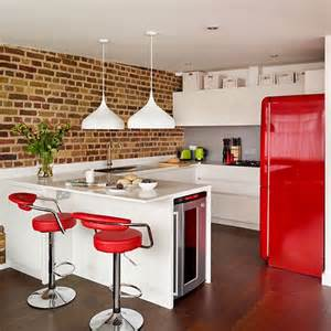 Red White Kitchen Ideas Modern Open Plan Red And White Kitchen Decorating
