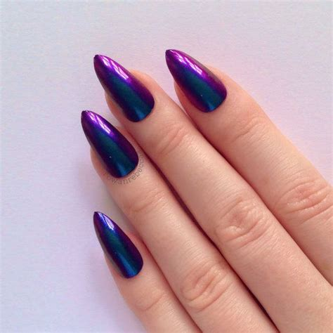 Falsche Nägel by Cyan Purple Chrome Stiletto Nails Nail By