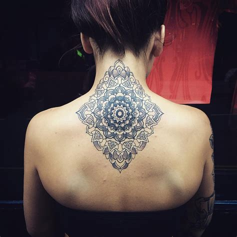 mandala tattoo on back 63 attractive mandala neck tattoos