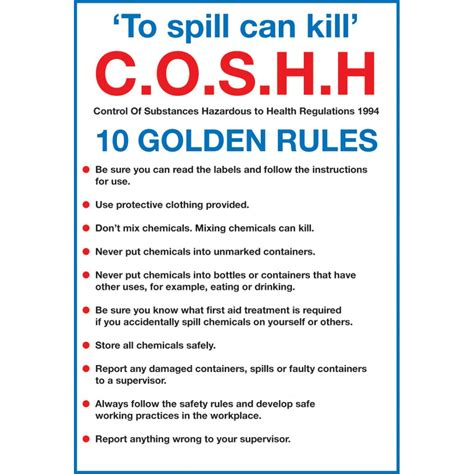 Kitchen Cabinet Examples by Signs Amp Labels To Spill Can Kill Coshh 10 Golden Rules