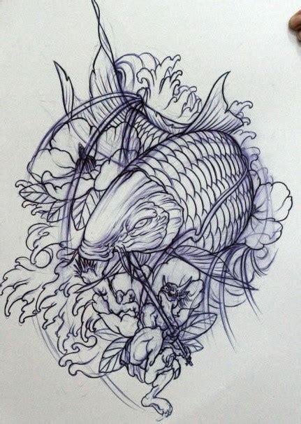 线条感的中国鲤鱼纹身手稿第2页