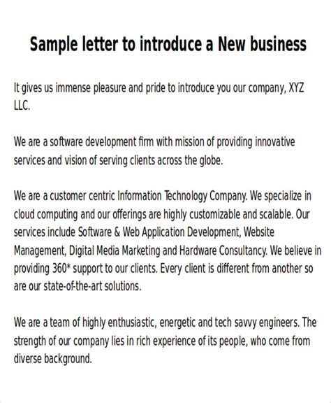 Introduction Letter Joining New Company Sle New Business Letters 6 Exles In Word Pdf
