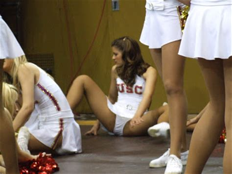 usc cheerleader not wearing underwear notre dame subway alumni station southern cal song girls