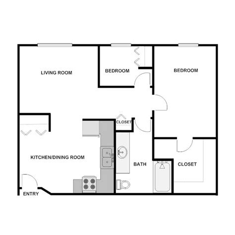 900 sq ft apartment floor plan 2 bedroom 1 bath apartment wyndmere estates