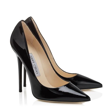 black patent leather pointy toe designer from jimmy choo