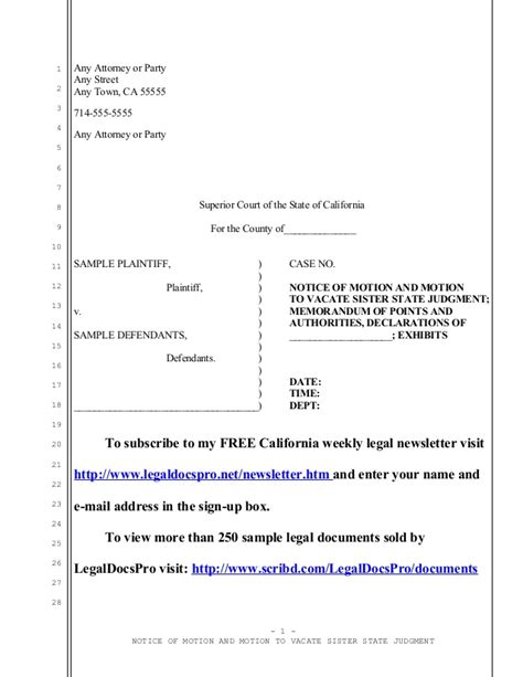 california code of civil procedure section 1013 sle motion to vacate sister state judgment in california