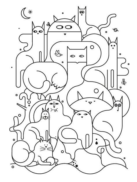 color pattern cat cats to color art room colouring pages pinterest