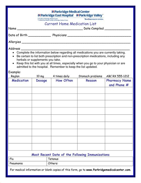 medicine list template blank personal medication list template daily pictures to