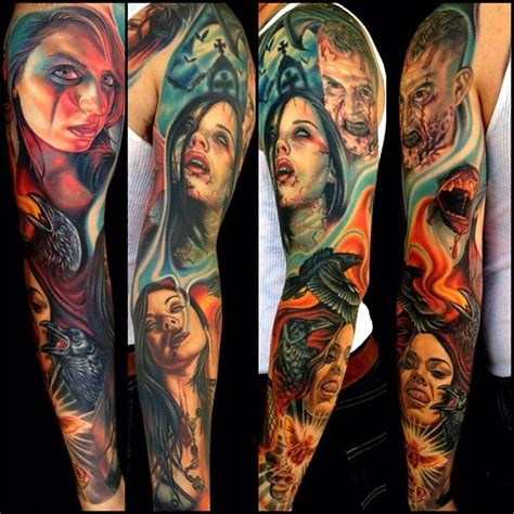 fire ravens and zombies tattoo sleeve best tattoo