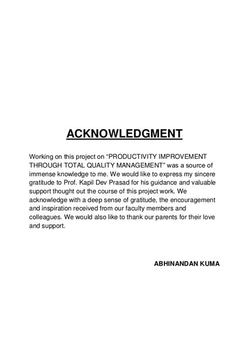 Acknowledgement Letter Project Report How To Write Project Report Acknowledgement