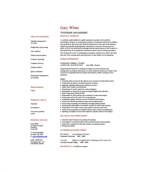 Assistant Accountant Resume Pdf 7 Accountant Resume Templates Free Word Pdf Document