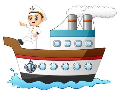 un barco animado capit 225 n de barco de dibujos animados apuntando en un barco
