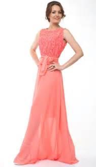 Bridesmaid dress lace chiffon long dress wedding coral 2418331