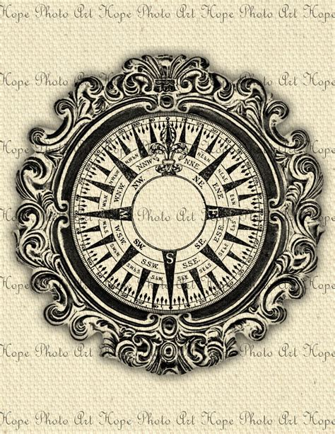 compass tattoo prints nautical vintage compass 8 5x11 fabric image by