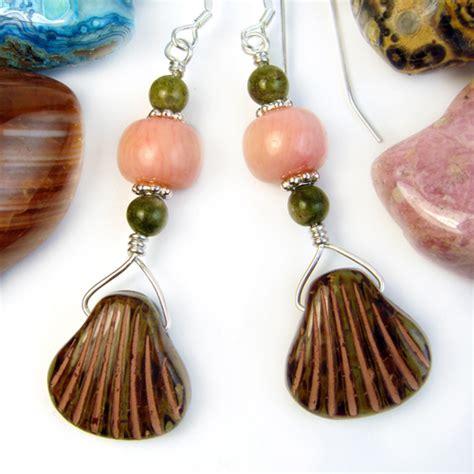 Handmade Seashell Jewelry - glass seashell earrings coral unakite sterling silver