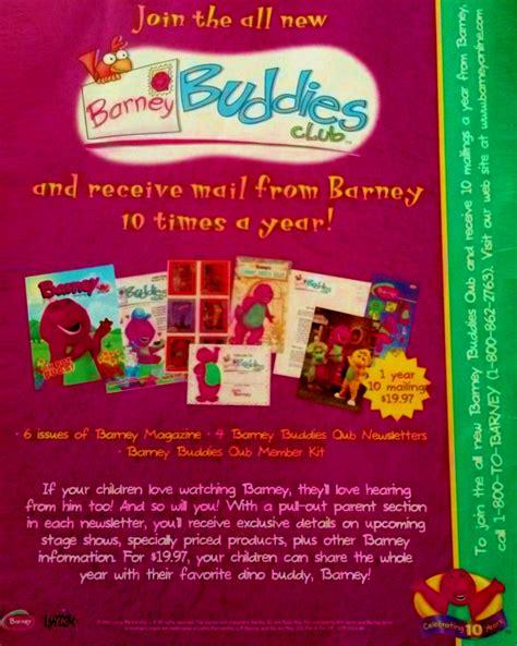 barney fan club magazines barney buddies club promo ad 1999 1 by bestbarneyfan on
