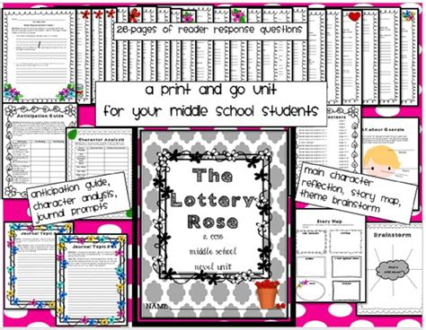 themes of lottery rose the lottery rose novel unit common core aligned for middle