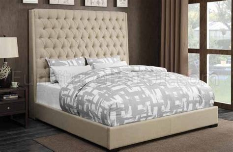 camille  upholstered bed  cream fabric  coaster