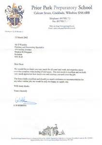 Thank You Letters For Hard Work The Staff dean wardale painters decorators wiltshire clients