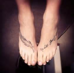 Feather tattoo on foot for women tattoos for women