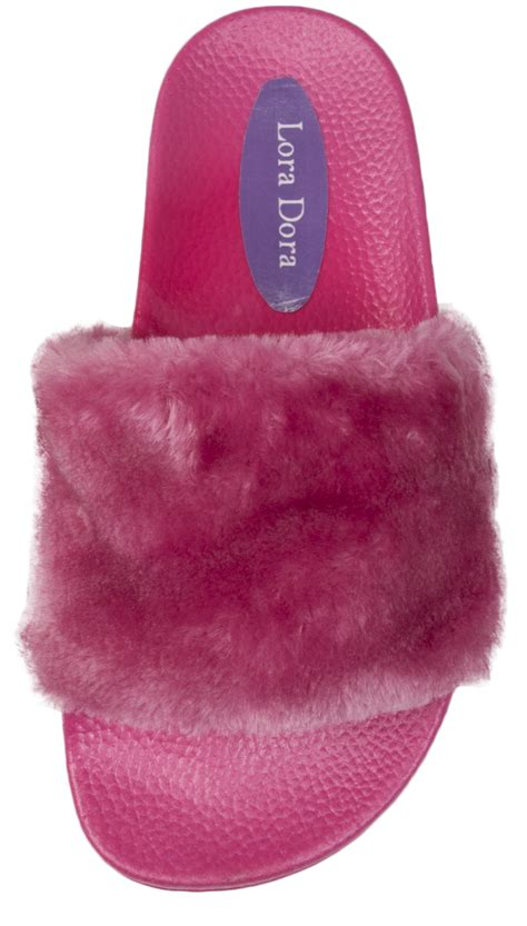 fluffy flip flop slippers womens diamante fur sliders fluffy mules slippers flip