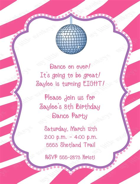 10 Best Images Of Dance Party Invitation Templates Kids Dance Party Invitation Wording Teen Disco Invitations Free Template