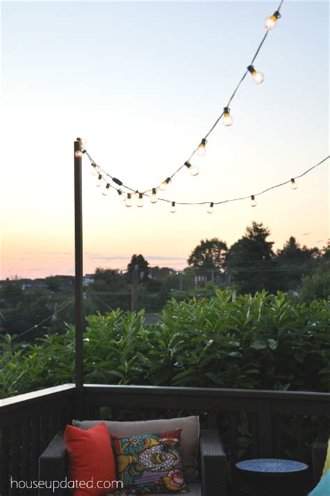 poles to hang string lights diy posts for hanging outdoor string lights house updated