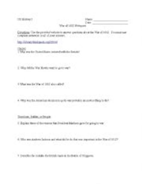 War Of 1812 Worksheet Pdf