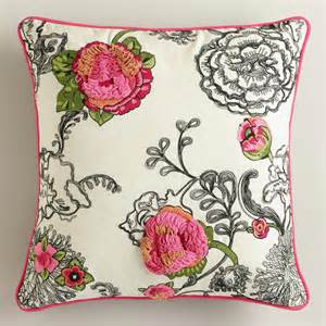 floral embroidered throw pillow world market