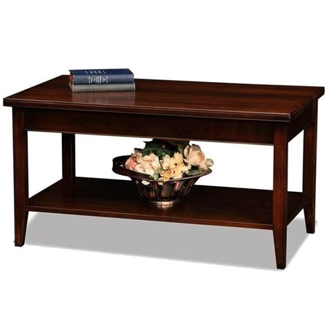 leick laurent small solid wood coffee table in chocolate