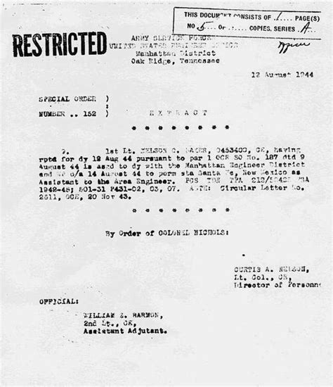 National Guard Unit Transfer Request Letter Nelson C Baker Atomic Heritage Foundation