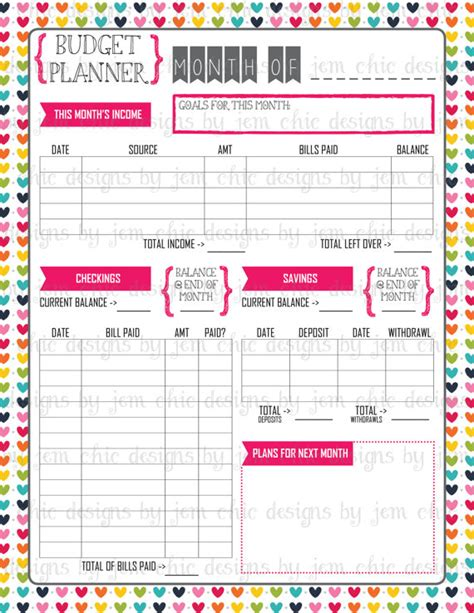 printable daily budget planner budget planner bill and expense tracker list by
