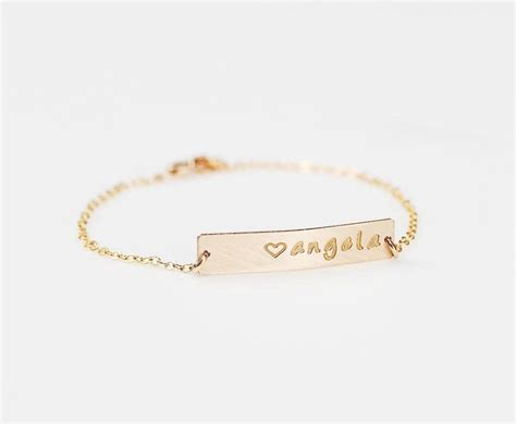 gold bar bracelet personalized initial bracelet gold