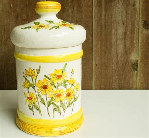 vintage 1976 kitchen canister jar yellow by endofsundayvintage