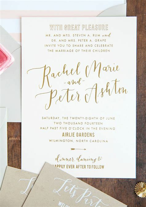 Wedding Invitations Calligraphy by Gold Foil And Calligraphy Wedding Invitations