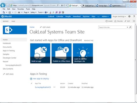 Office 365 Team Site Office 365 Sharepoint Apps Page Lightswitch Html Client