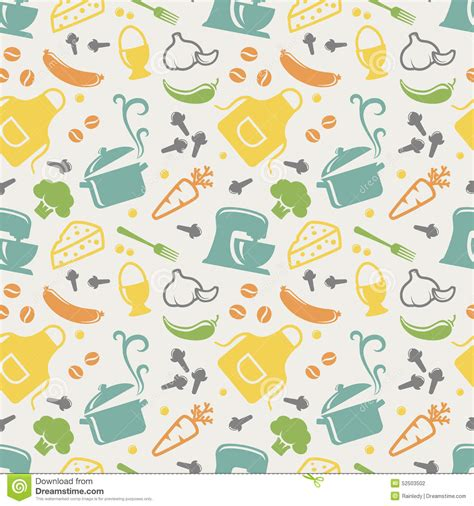 kitchen pattern background kitchenware pattern vector background cartoon vector