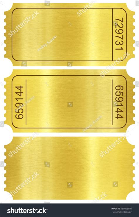 gold ticket template ticket set golden ticket templates set stock illustration
