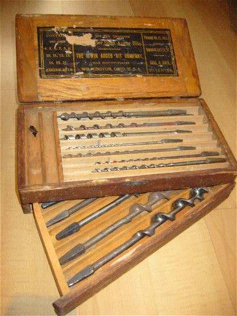irwin auger bit ohio carpentry vintage box  tools